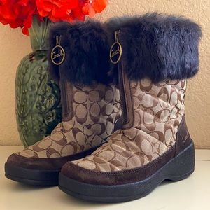 Coach Faith Signature rabbit fur boots